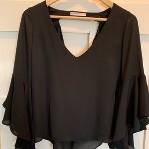 V-Neck; Flounce wing sleeve top
